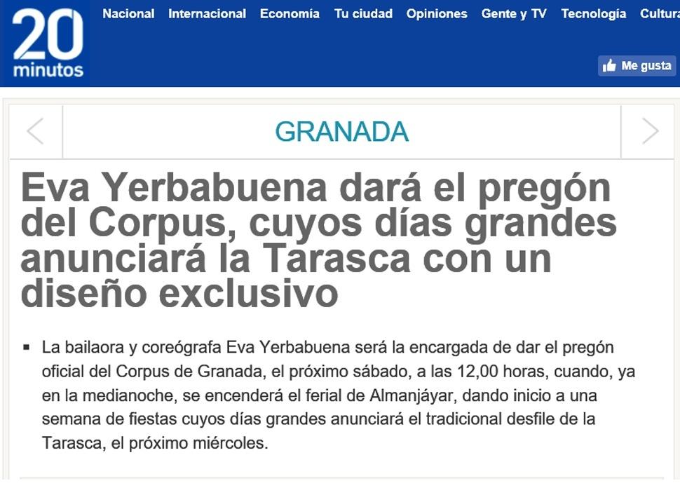 20 Minutos - Pregón Corpus Granada 2017