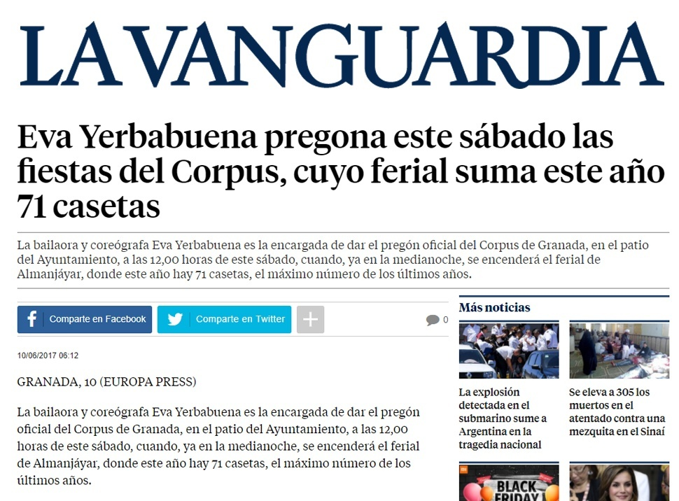 Diario La Vanguardia Eva Yerbabuena