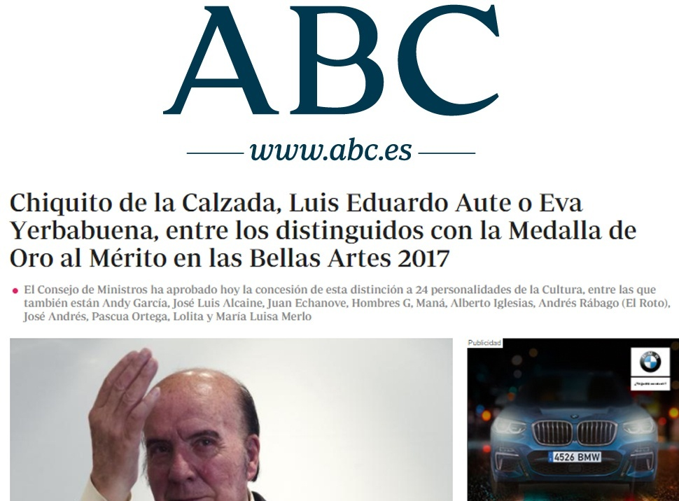 EL País - Medalla Bellas ARtes. 22 de Diciembre.