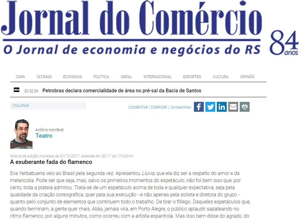 Crítica Porto Alegre Eva Yerbabuena en O Comecio